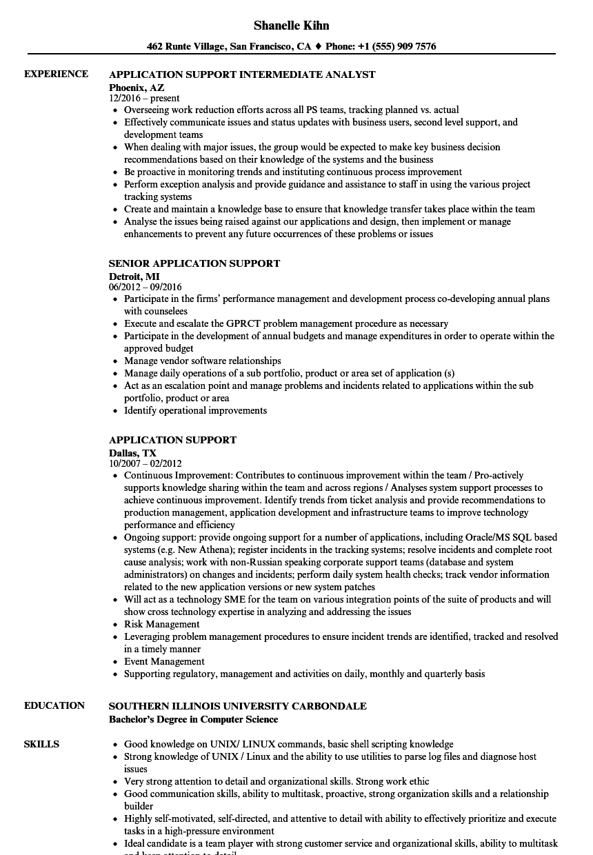 application support resume samples