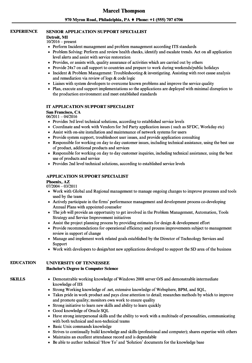 Application Support Specialist Resume Samples | Velvet Jobs