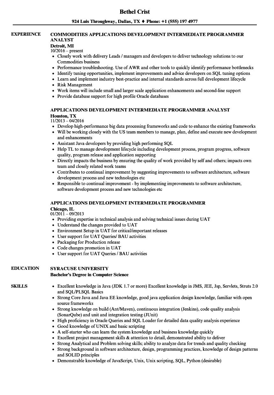Applications Development Intermediate Programmer Resume Samples ...