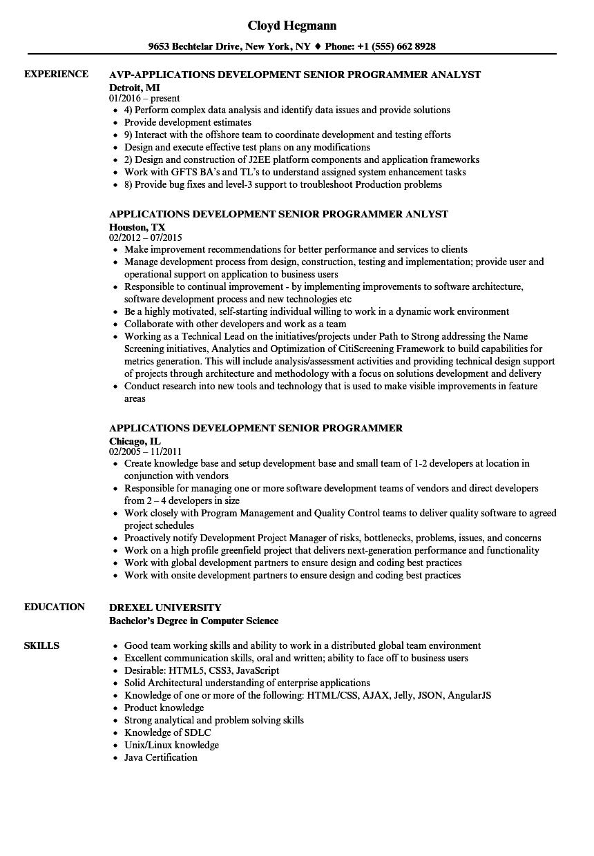 applications development senior programmer resume