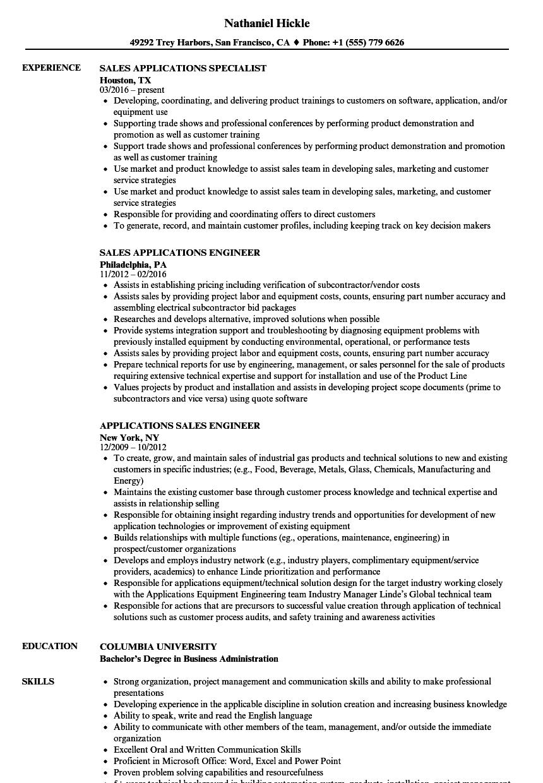 Applications Sales Resume Samples   Velvet Jobs