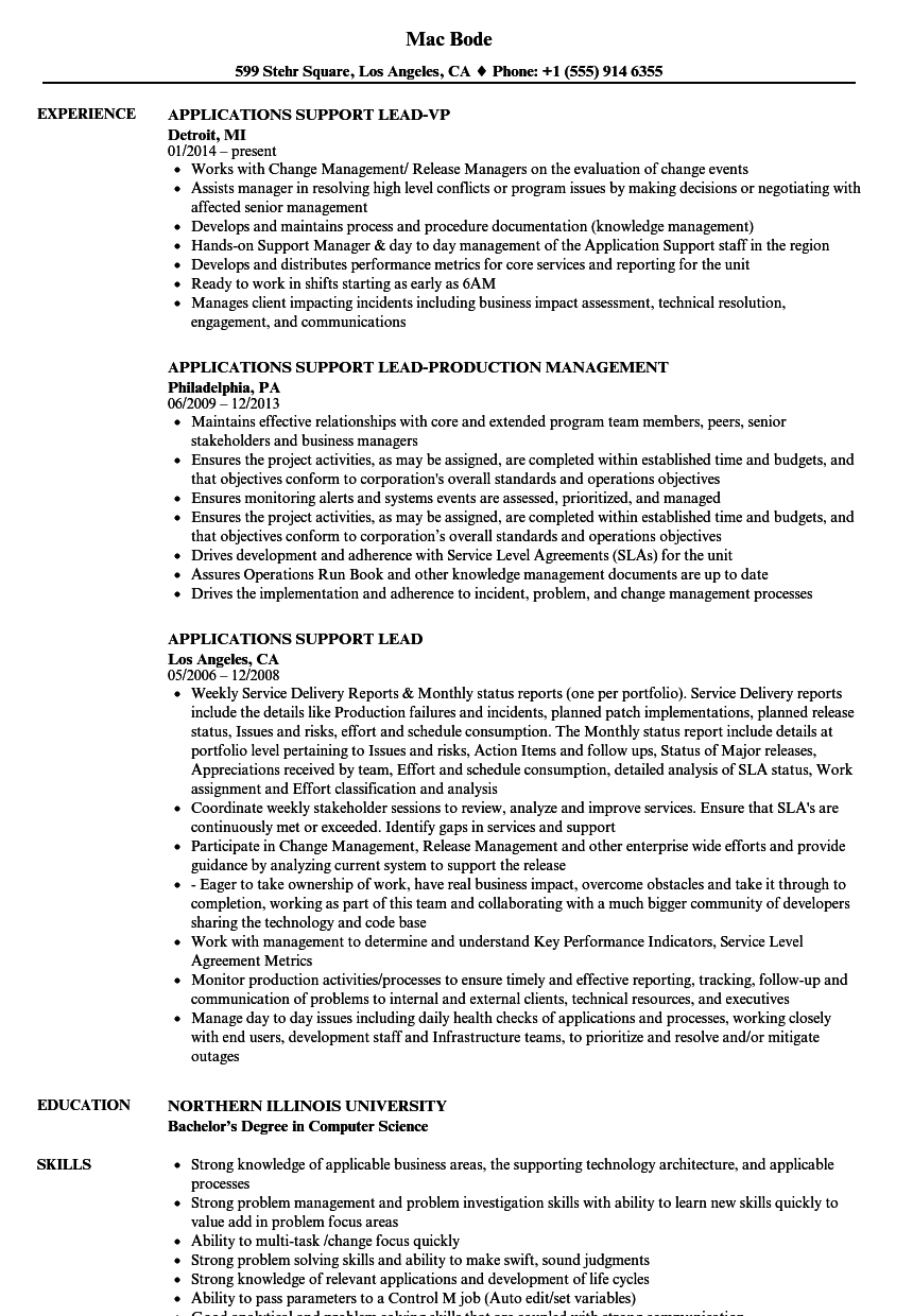 applications support lead resume samples