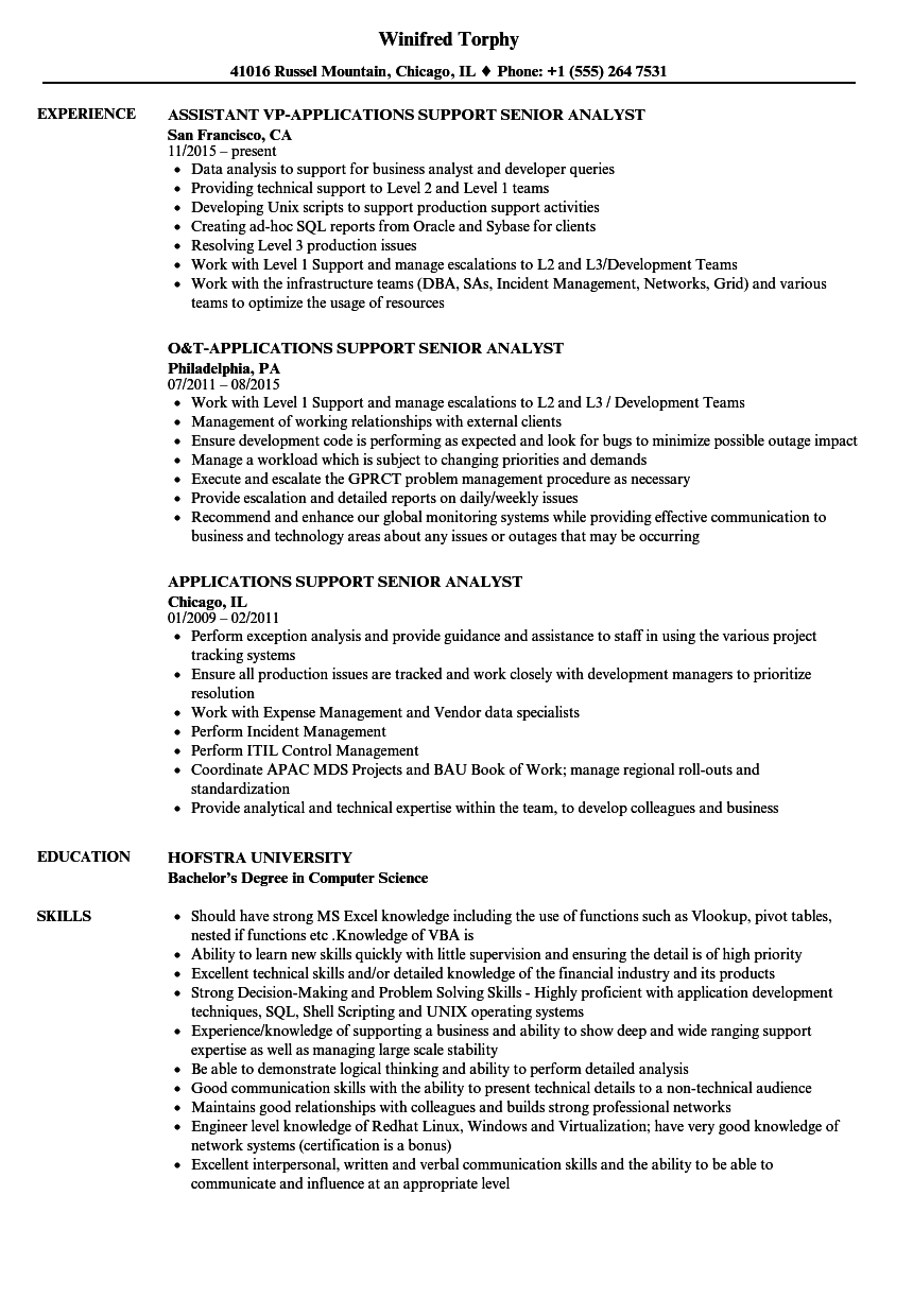 Download Applications Support Senior Analyst Resume Sample As Image File