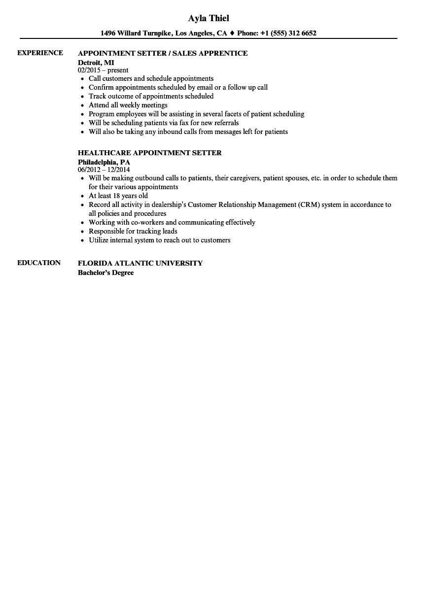 Appointment Setter Resume Samples | Velvet Jobs
