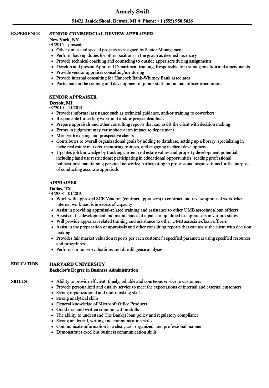 Appraiser Resume Samples | Velvet Jobs
