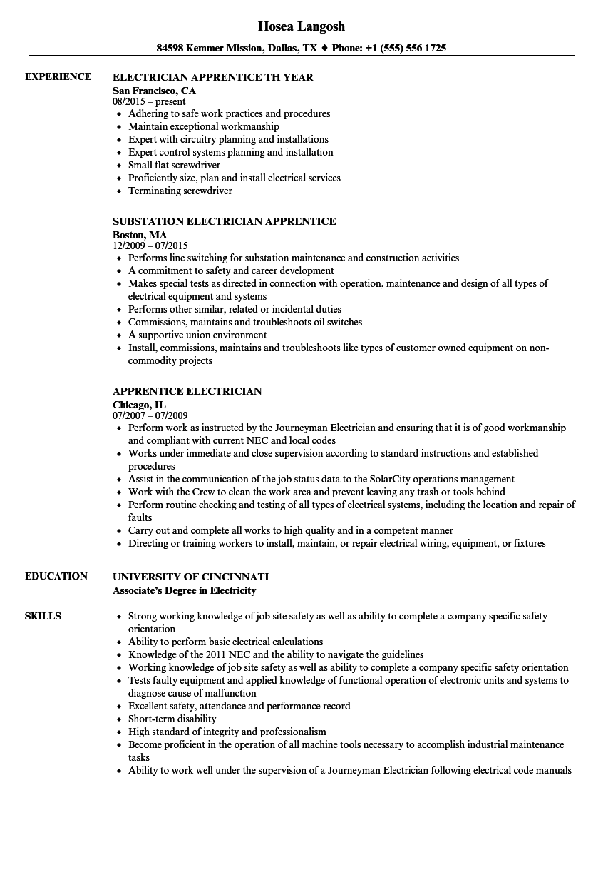 Apprentice Electrician Resume Samples | Velvet Jobs