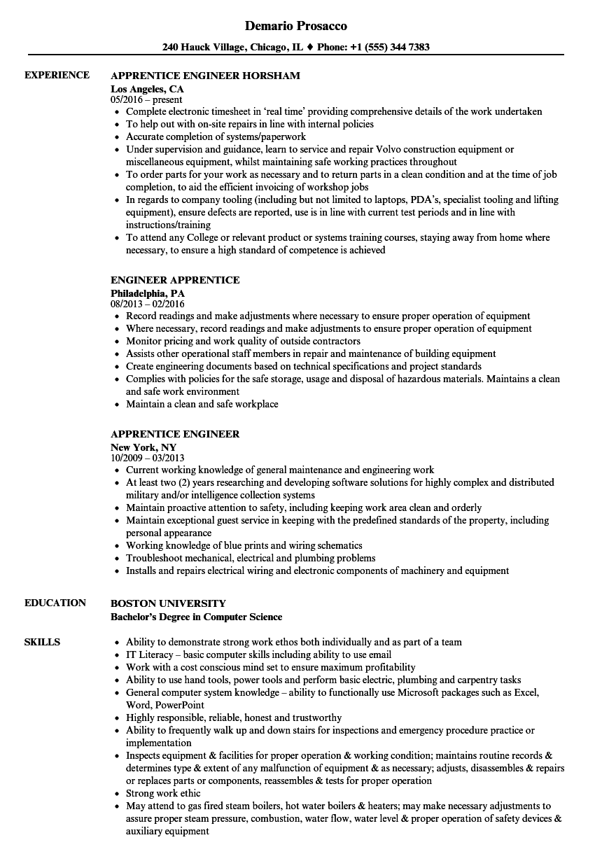 apprentice engineer resume samples