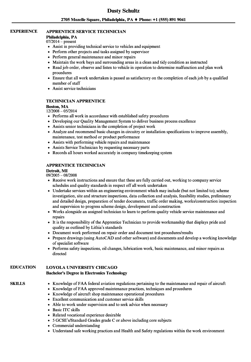 apprentice technician resume samples
