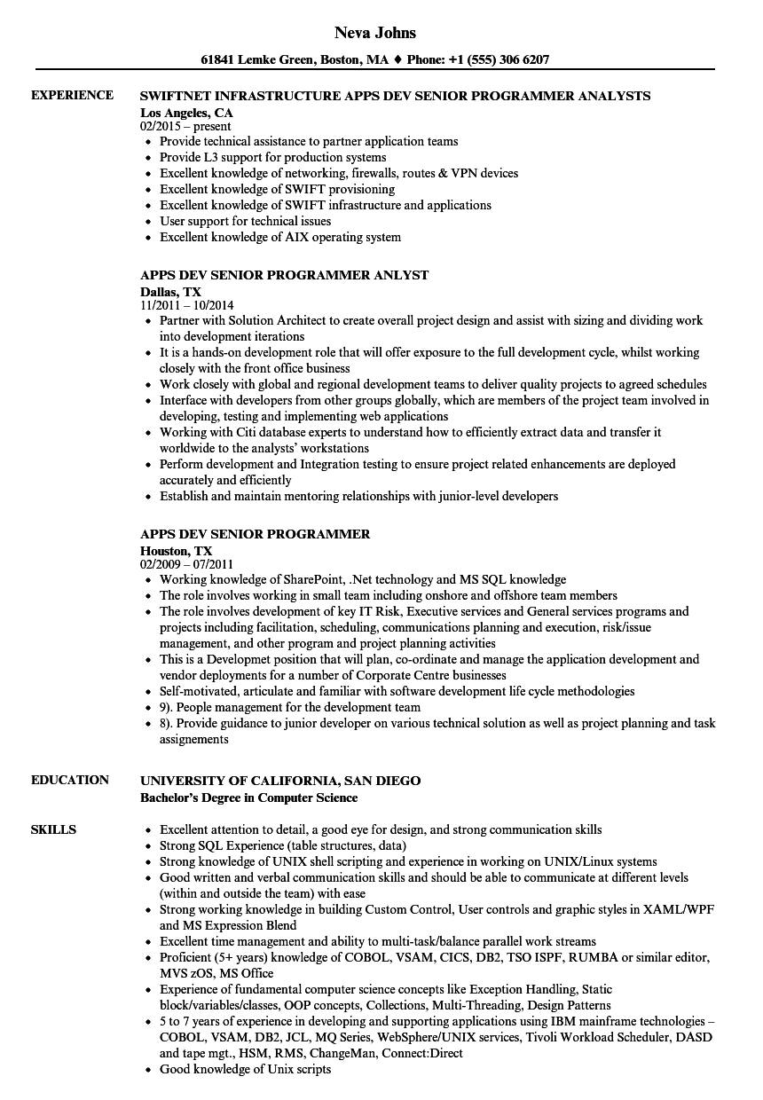 Apps Dev Senior Programmer Resume Samples | Velvet Jobs
