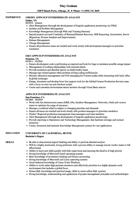 apps sup intermediate analyst resume samples