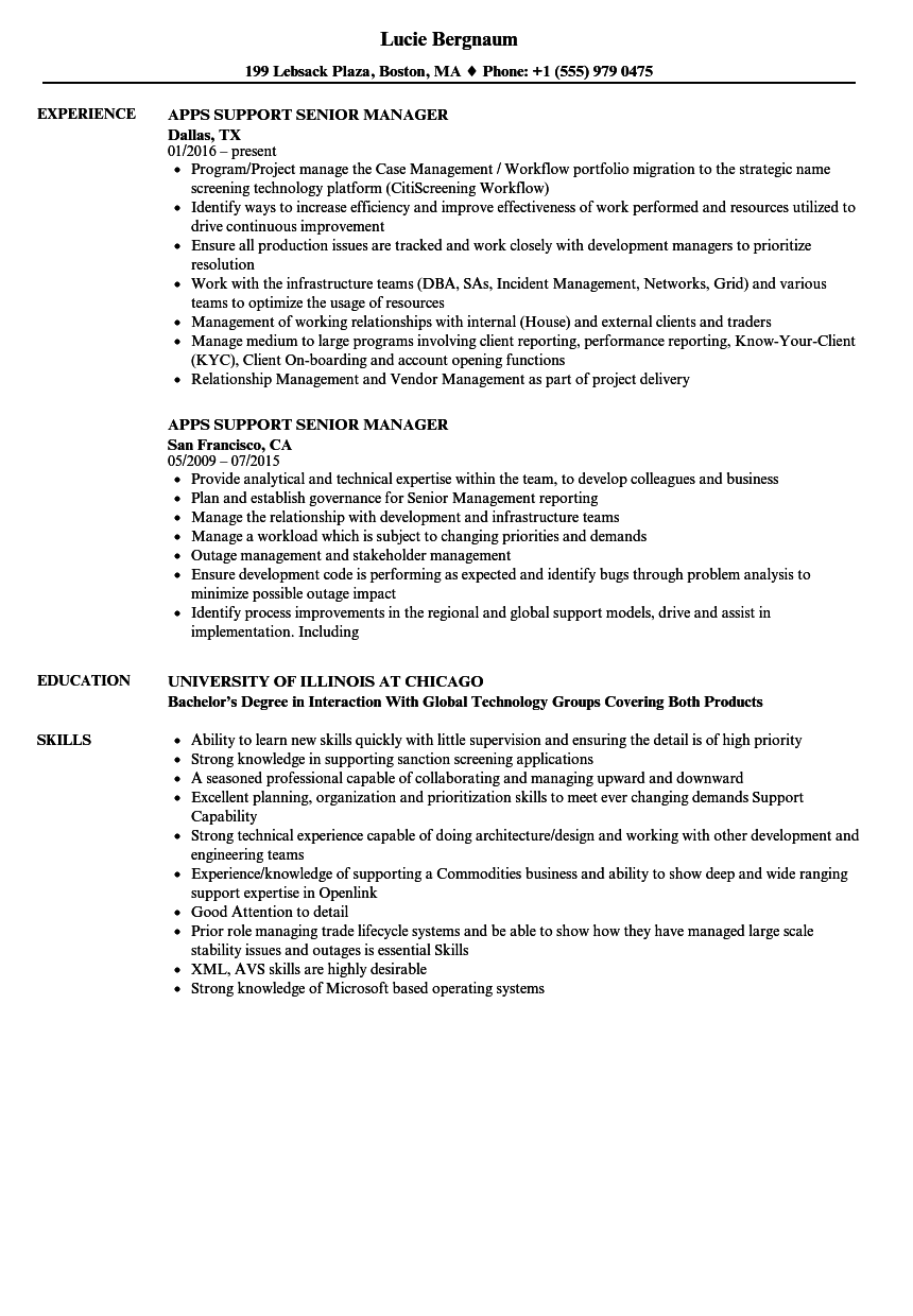 Apps Support Senior Manager Resume Samples | Velvet Jobs