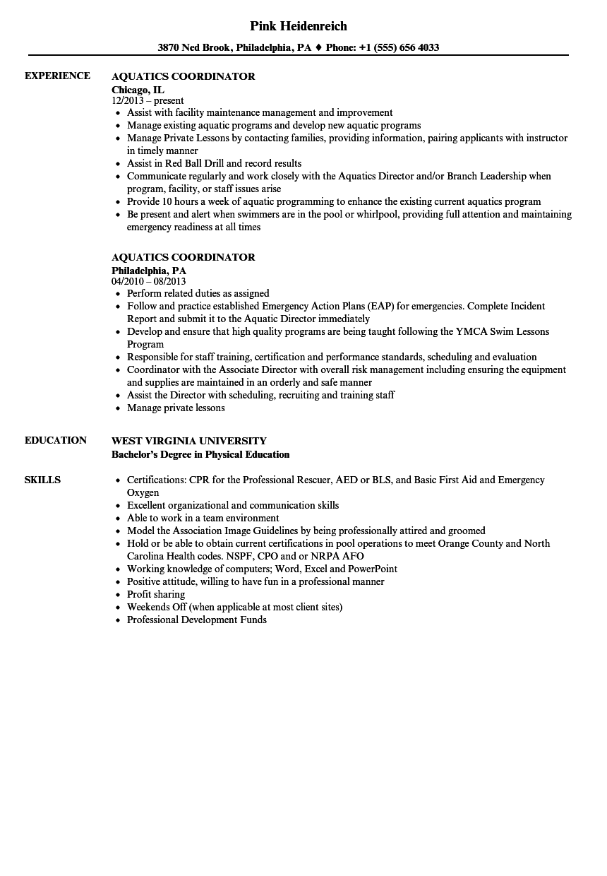 Aquatics Coordinator Resume Samples