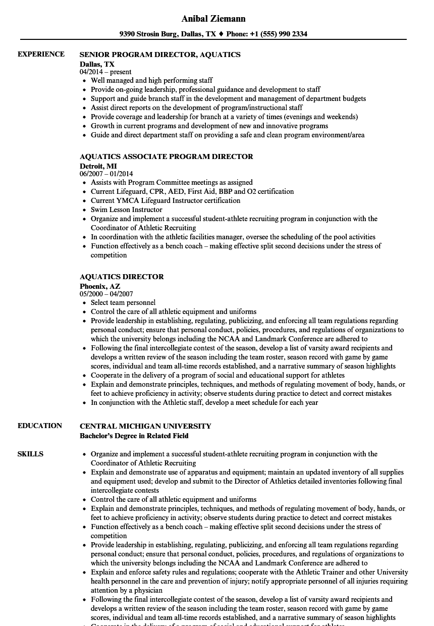 Aquatics Director Resume Samples | Velvet Jobs