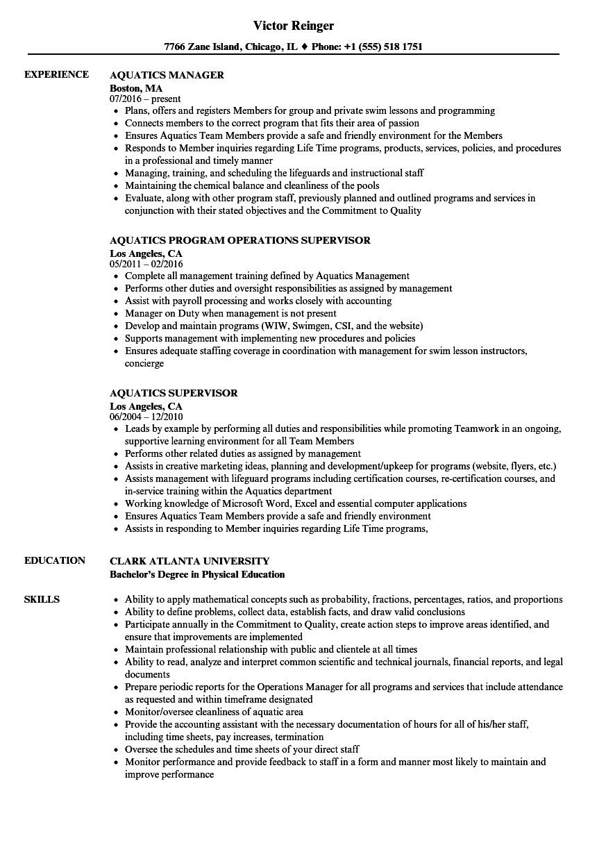 Aquatics Resume Samples | Velvet Jobs