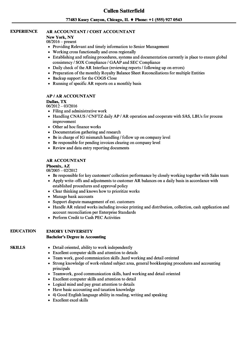 AR Accountant Resume Samples | Velvet Jobs