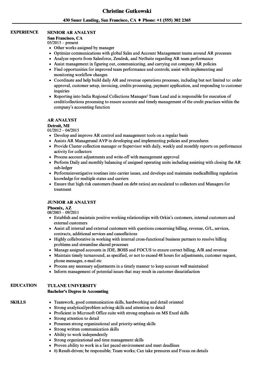 AR Analyst Resume Samples