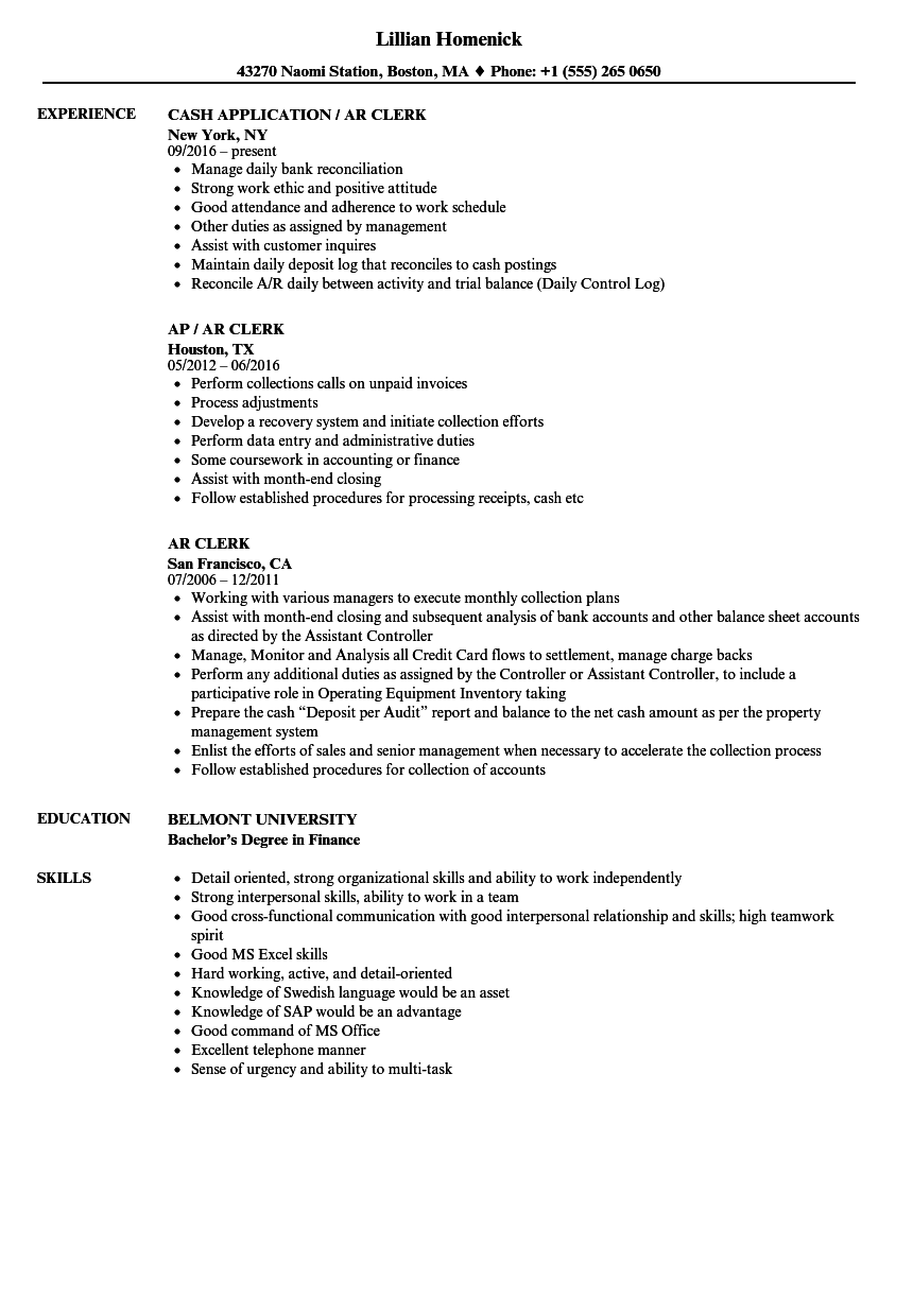 AR Clerk Resume Samples | Velvet Jobs