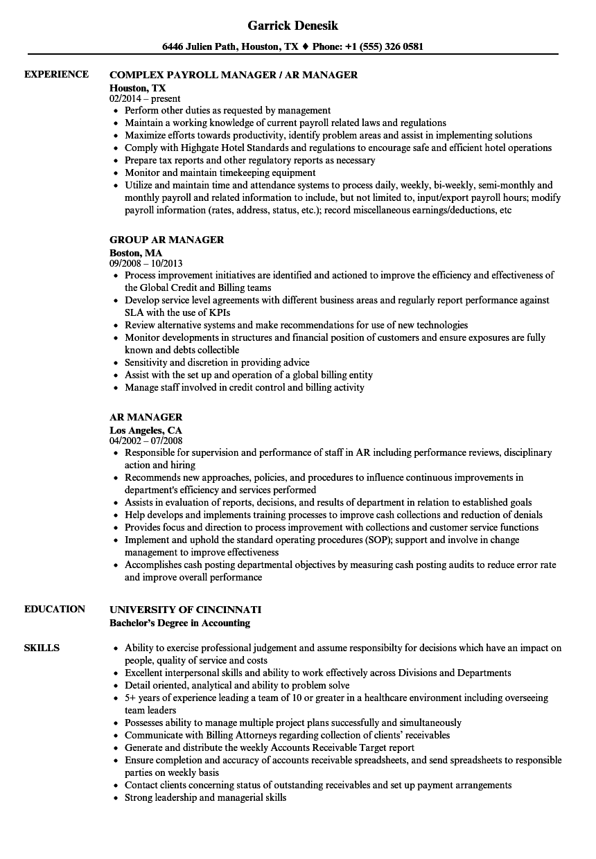 Download Ar Manager Resume Sample As Image File