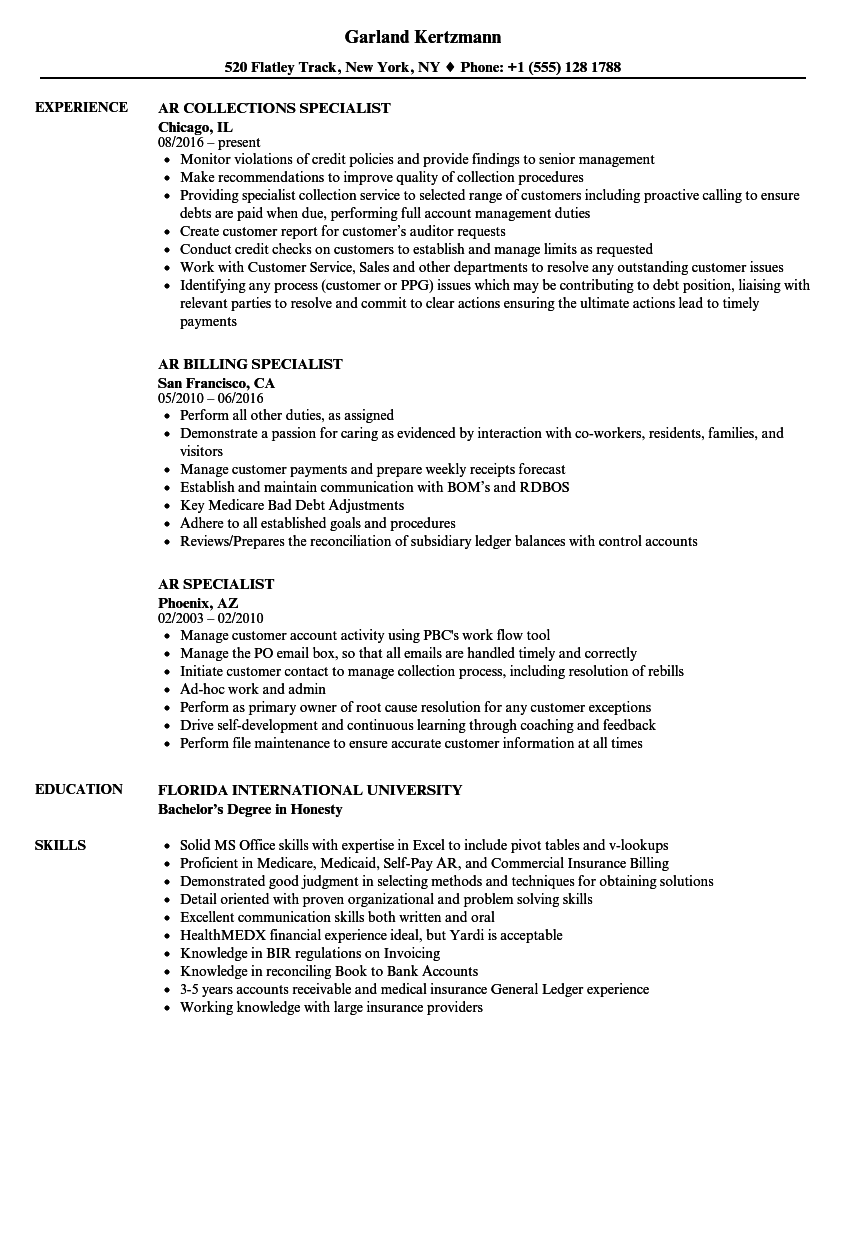 ar specialist resume samples velvet jobs