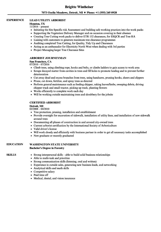 arborist resume samples velvet jobs