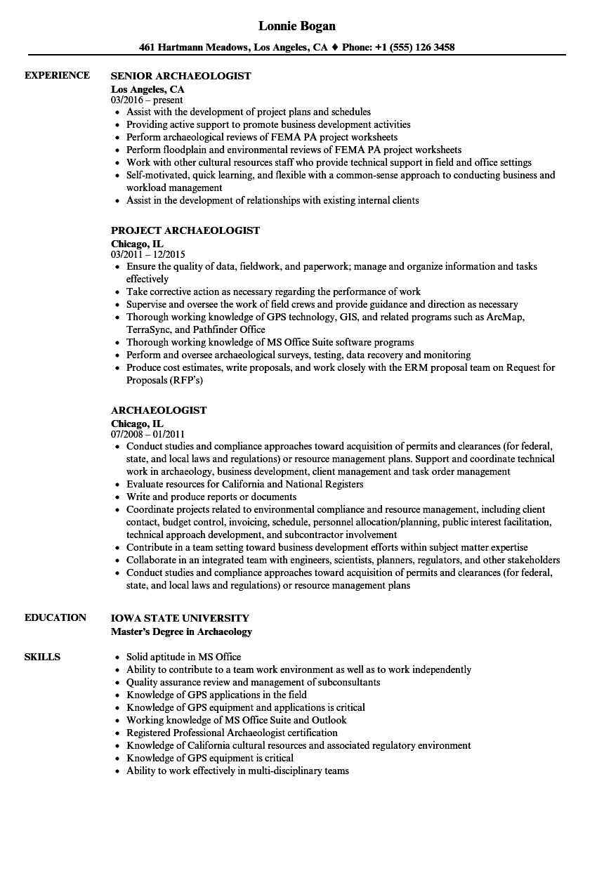 archaeologist resume samples