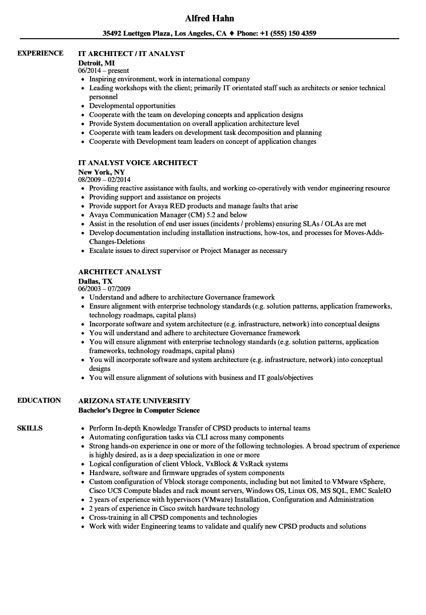 Download Architect Analyst Resume Sample As Image File  It Analyst Resume