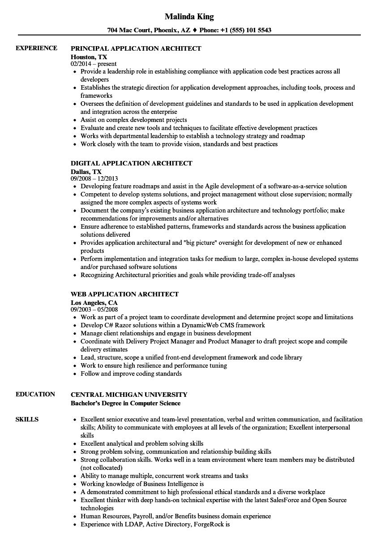 architect  application resume samples