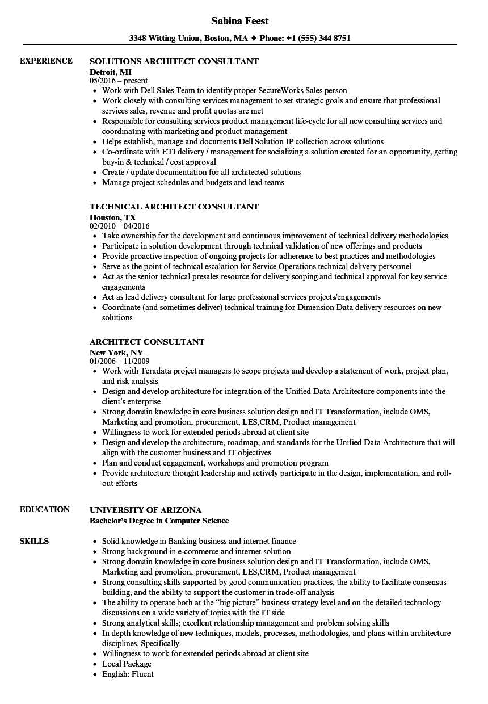architect consultant resume samples