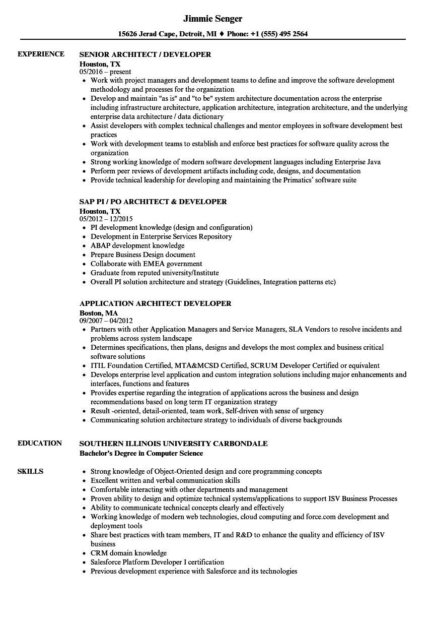 architect developer resume samples velvet jobs