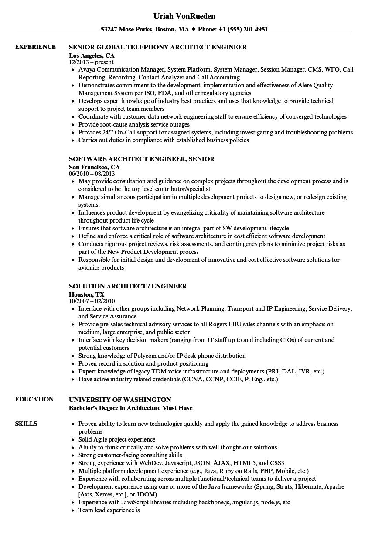 architect engineer resume samples