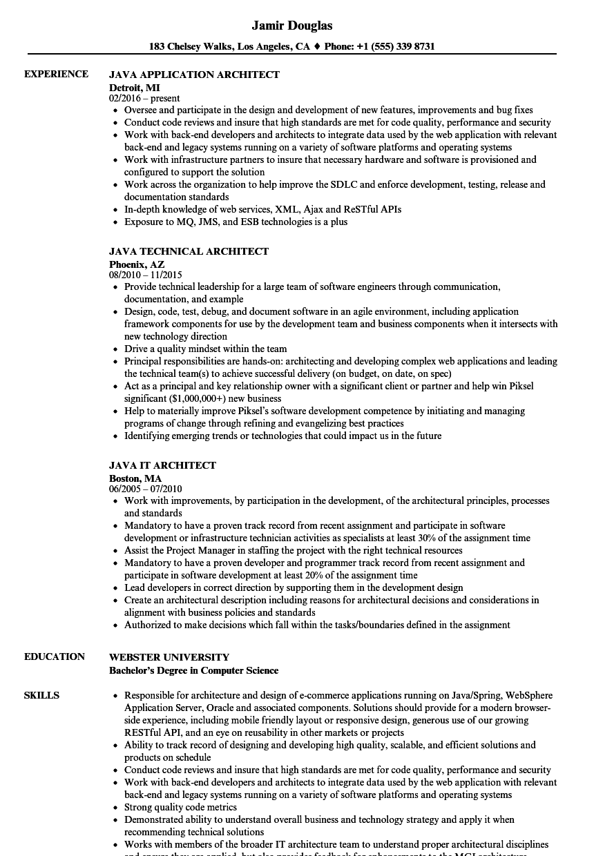 architect java resume samples velvet jobs