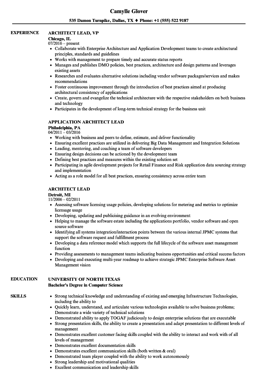 Architect Lead Resume Samples Velvet Jobs