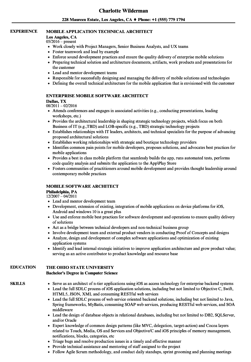 Architect Mobile Resume Samples Velvet Jobs