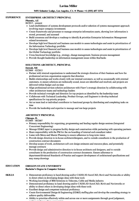 download architect principal resume sample as image file - Principal Architect Sample Resume