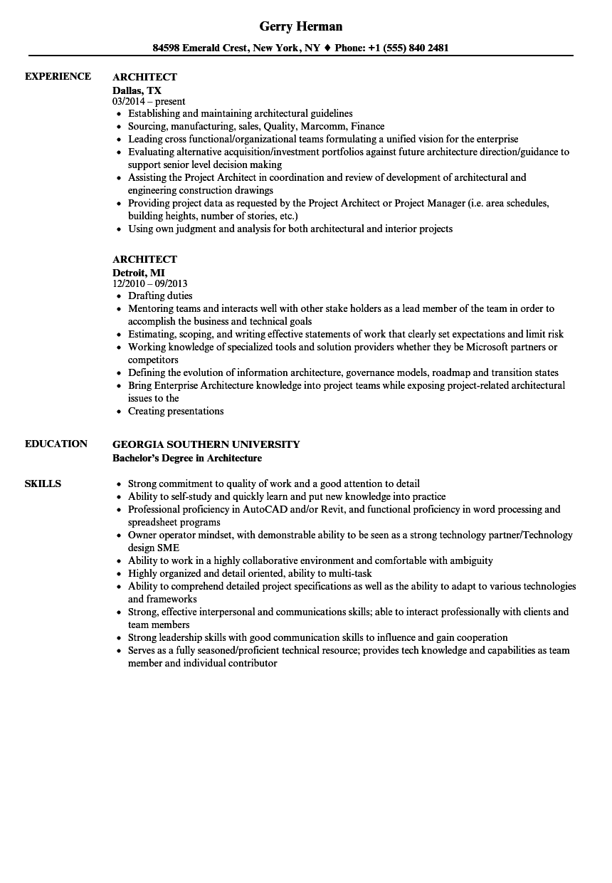 Velvet Jobs  Architecture Resume Sample