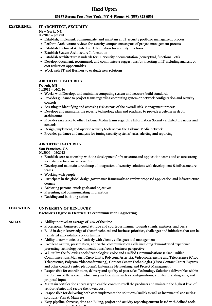 Download Architect Security Resume Sample As Image File