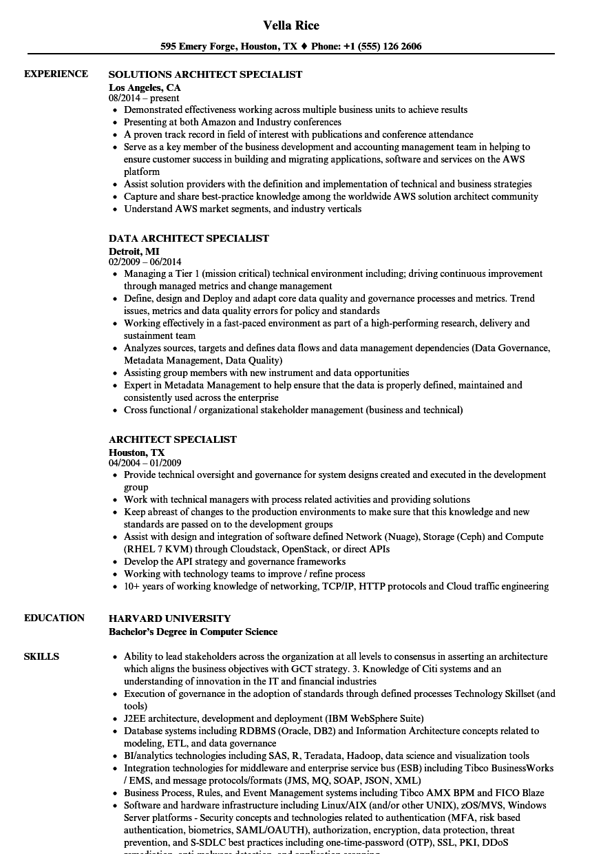 Download Architect Specialist Resume Sample As Image File