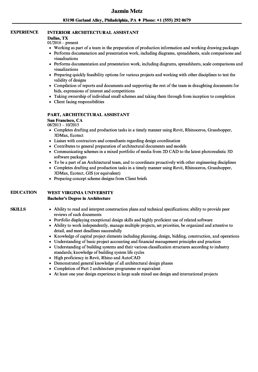 Architectural Assistant Resume Samples | Velvet Jobs