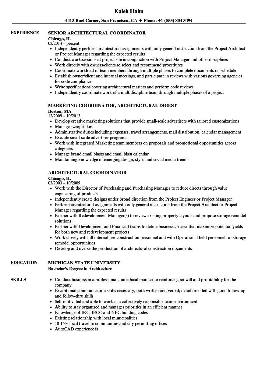 architectural coordinator resume samples velvet jobs