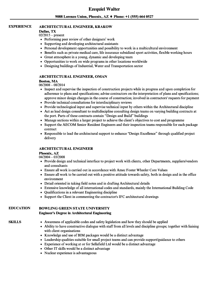 Architectural Engineer Resume Samples | Velvet Jobs