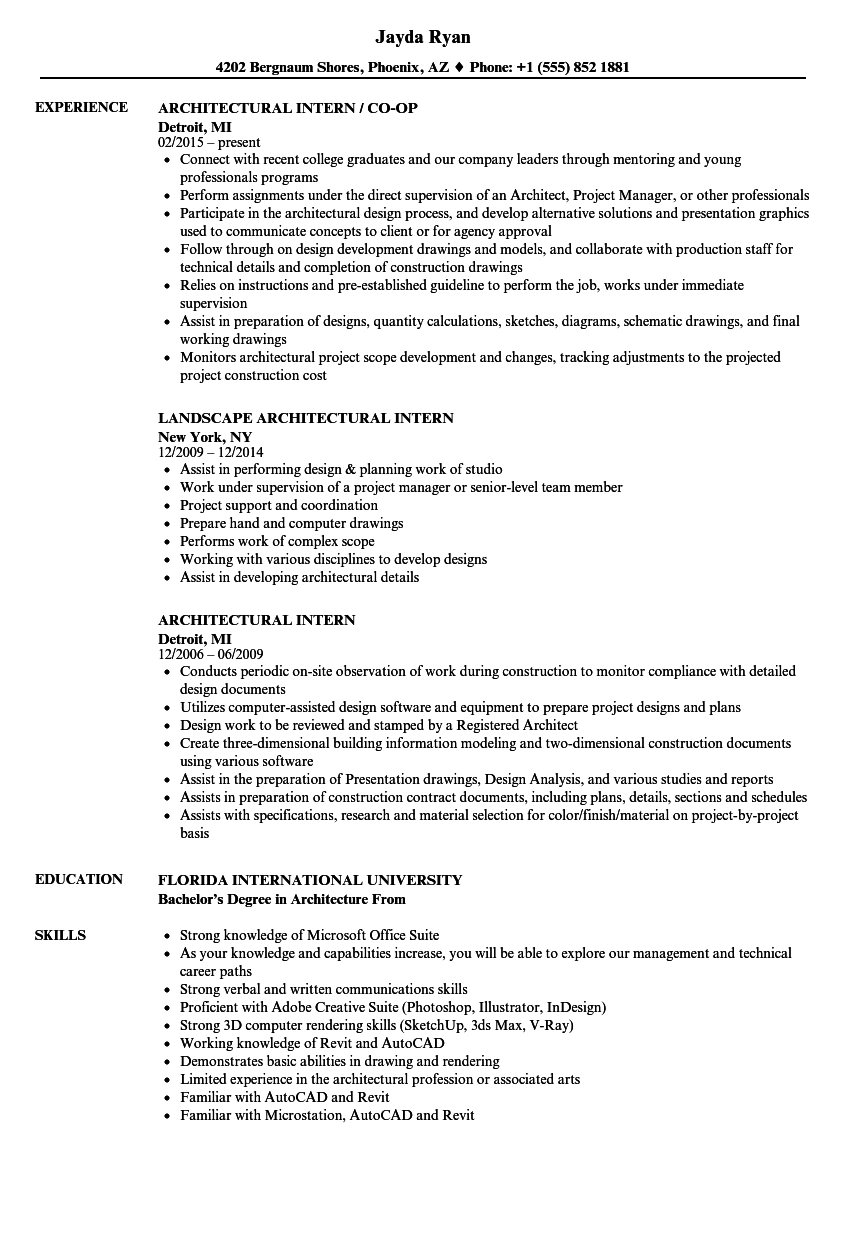 Architectural Intern Resume Samples Velvet Jobs