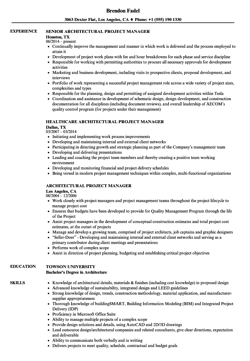 Download Architectural Project Manager Resume Sample As Image File