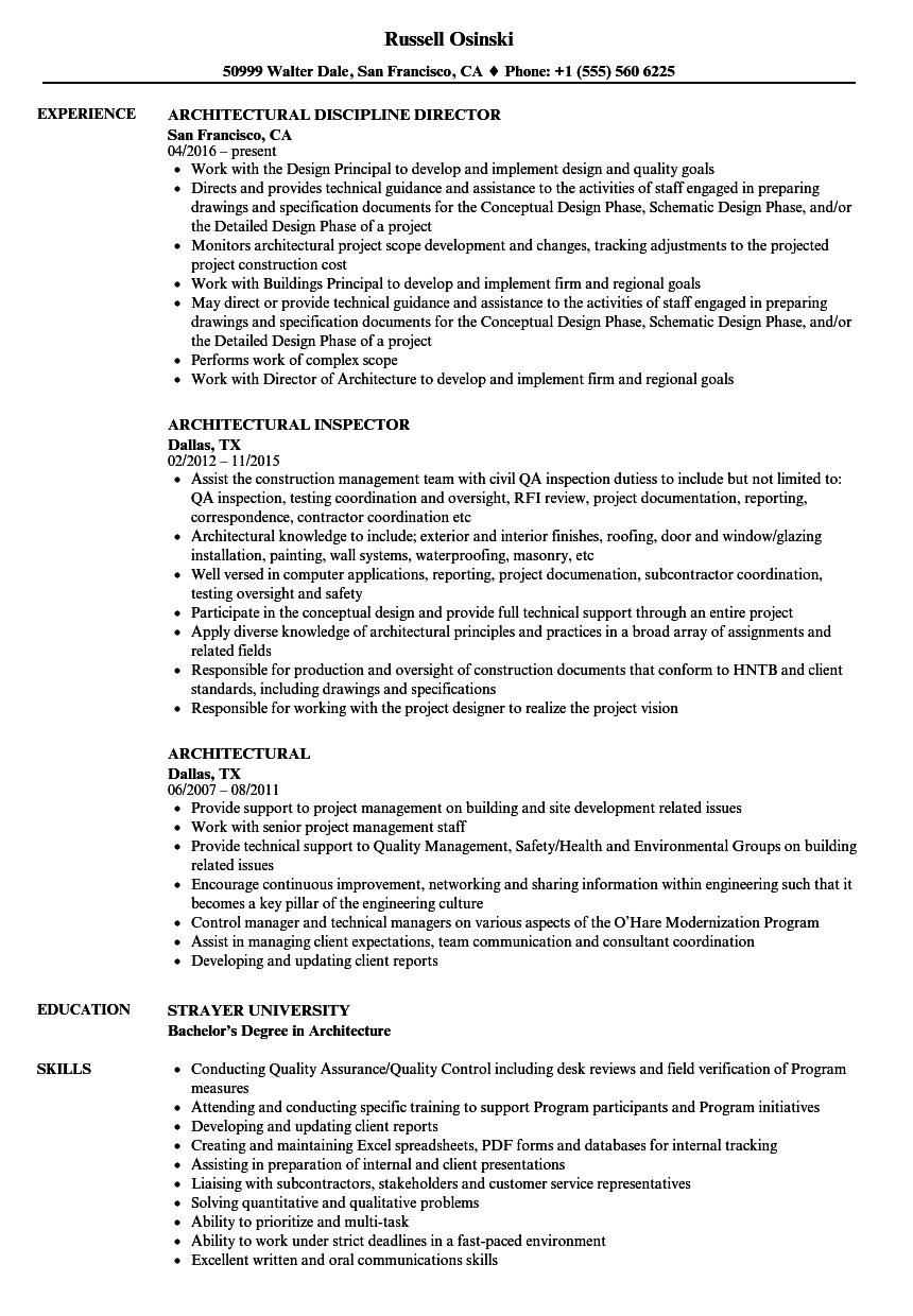 architectural resume samples