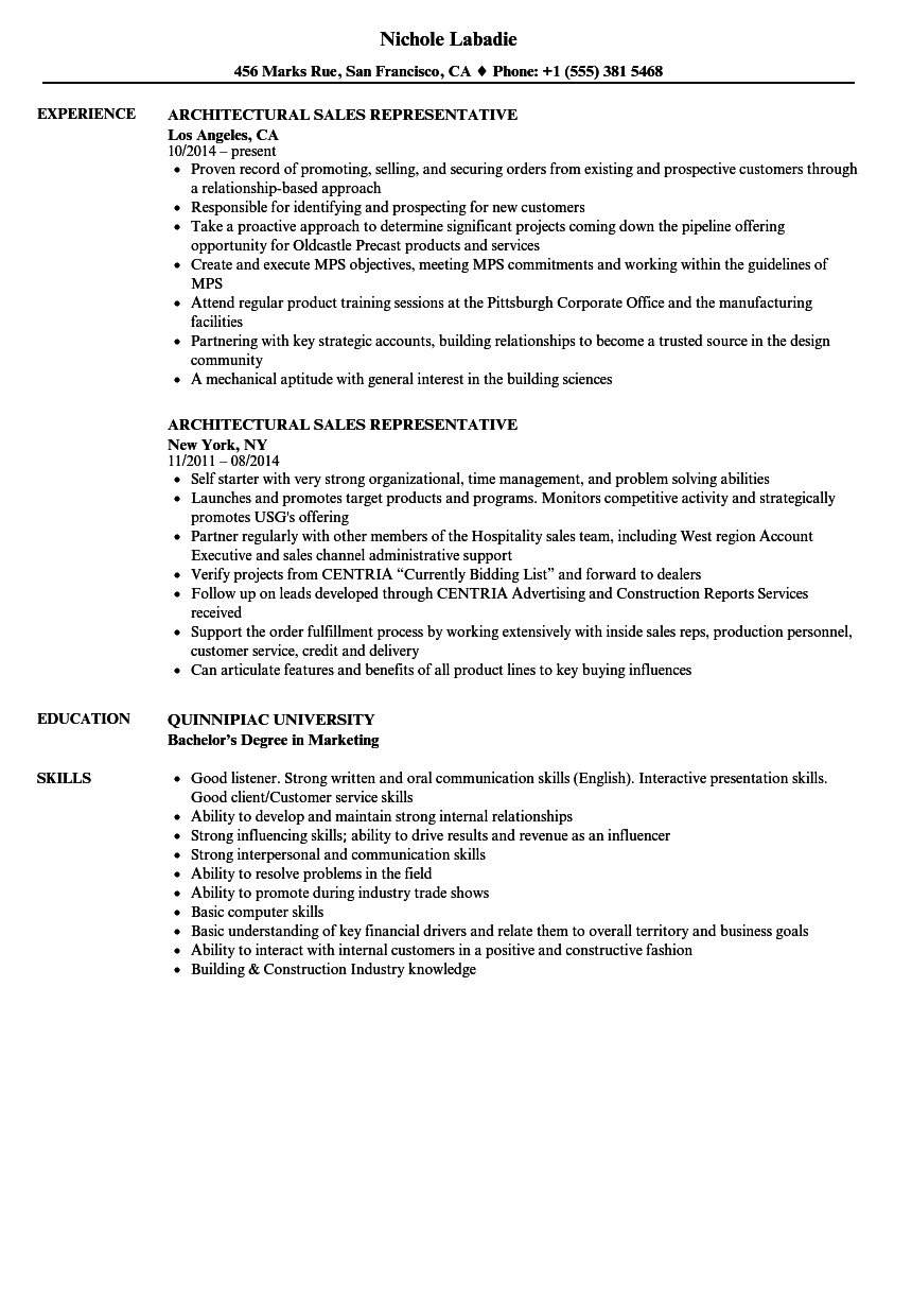 Architectural Sales Representative Resume Samples | Velvet Jobs