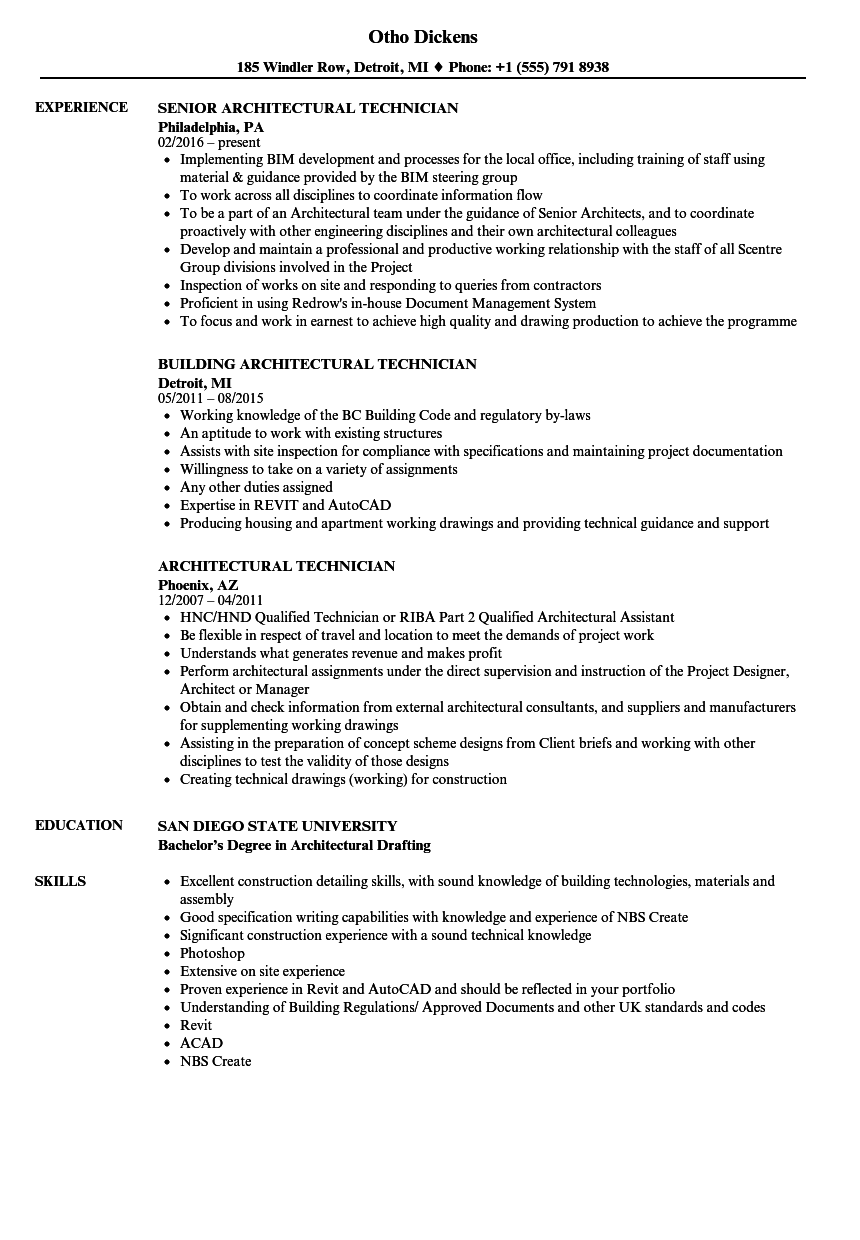 architectural technician resume samples