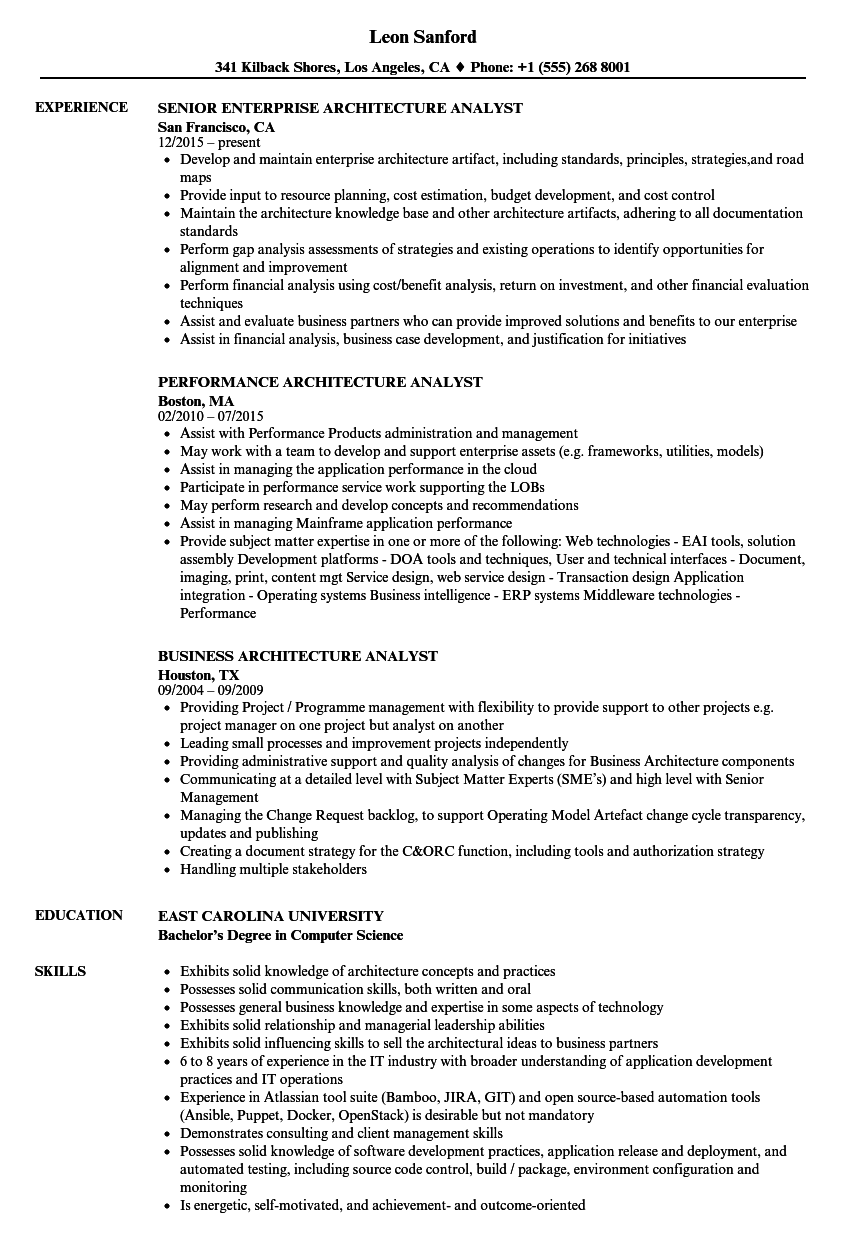 Download Architecture Analyst Resume Sample As Image File