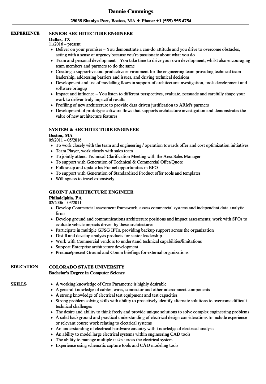 architecture engineer resume samples