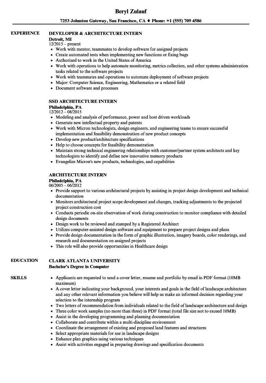 Architecture Intern Resume Samples | Velvet Jobs