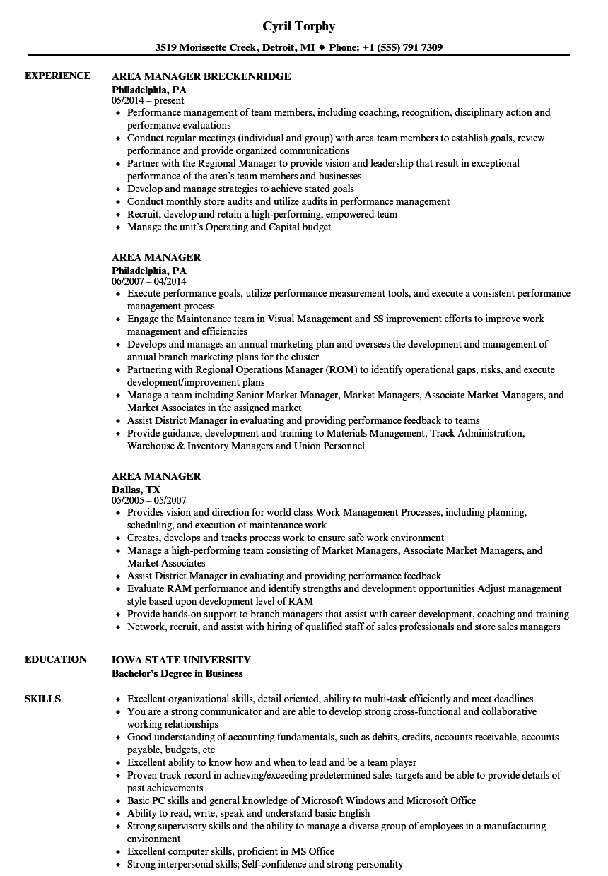 Area Manager Resume Samples | Velvet Jobs