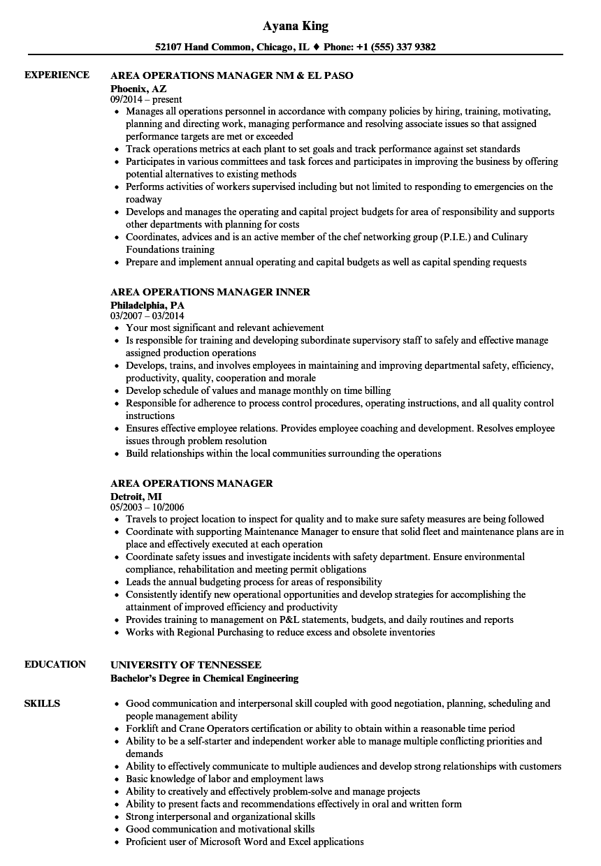 Area Operations Manager Resume Samples | Velvet Jobs